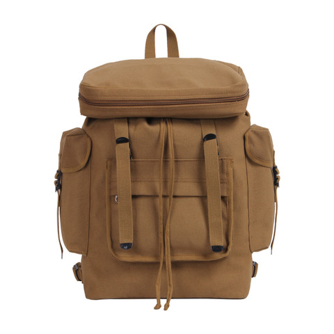 Coyote Brown European Canvas Rucksack - Front View