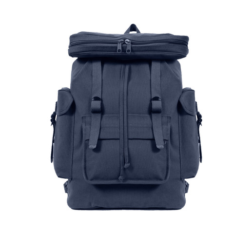 Navy European Canvas Rucksack - Front View