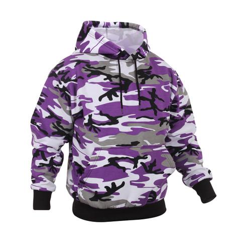 Purple Camo Hooded Pullover Sweatshirt - View