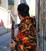 Savage Orange Camo Hooded Pullover Sweatshirt - Tory Grant Model View