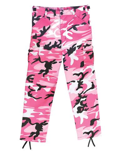 Kids Pink Camo Fatigue Pants - View