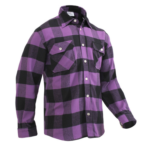 Extra Heavyweight Buffalo Purple Plaid Flannel Shirts - View