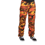 Womens Savage Orange Camo Paratrooper Fatigues - Front View