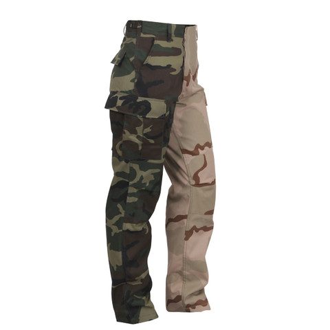 Rothco Two Tone Woodland/Tri Color Camo Fatigues - Side View