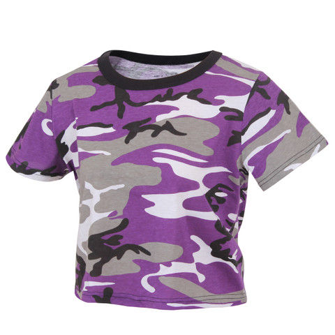 Woman's Purple Camo Crop Top - View