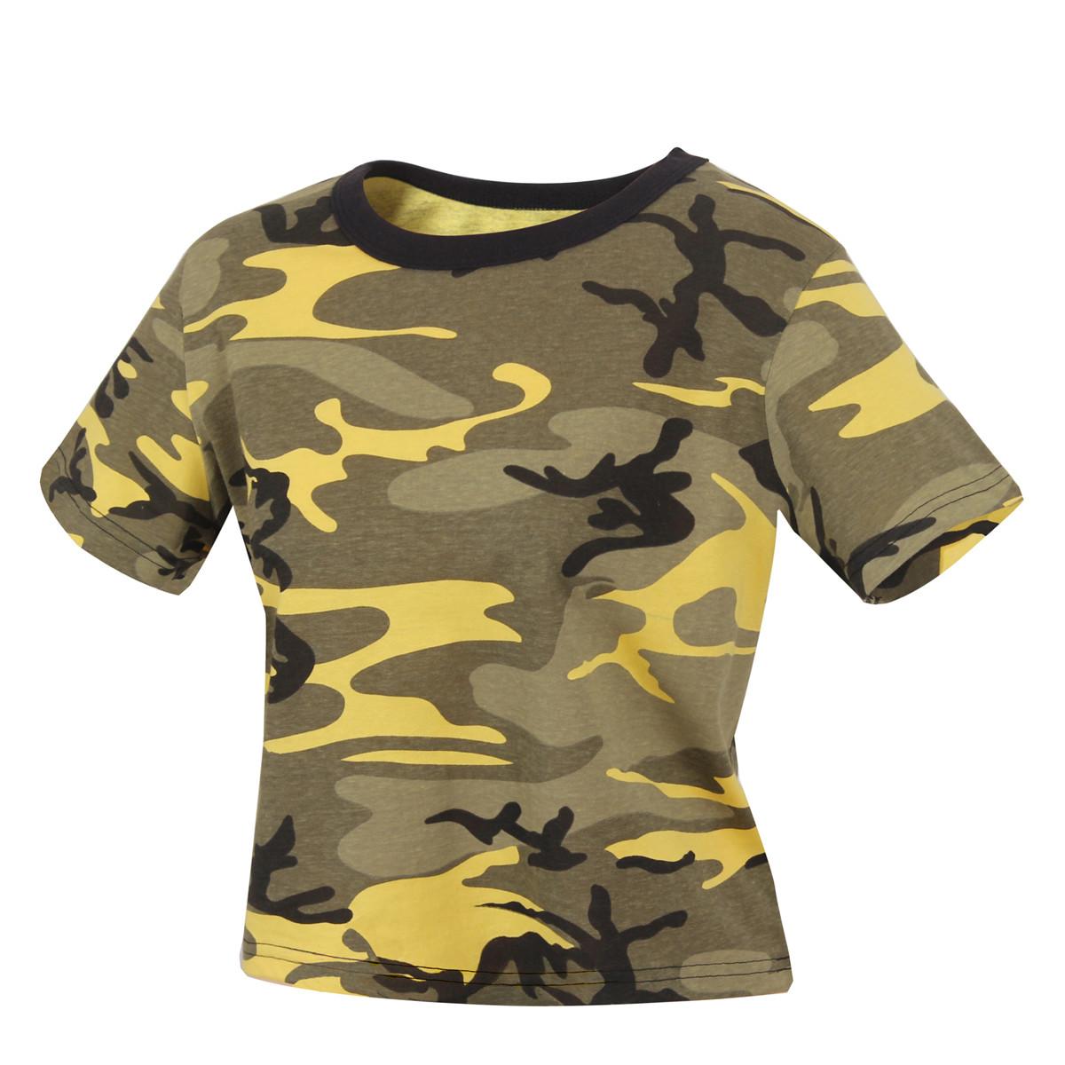 34a02953a2ec3c Shop Womens Crop Stinger Yellow Camo T s - Fatigues Army Navy Gear