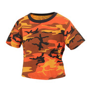 Woman's Savage Orange Camo Crop Top - View