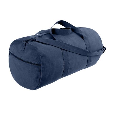 Navy Blue Canvas Sports Shoulder Bag - View