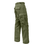Relaxed Fit Zipper Olive Drab BDU Fatigue Pants - Side View