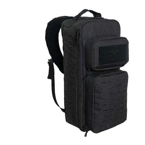 Black Tactical Single Sling Pack w/ Laser Cut MOLLE - View