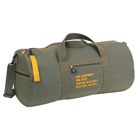 """Military Style 24"""" Canvas Equipment Gear Bags- Front View"""