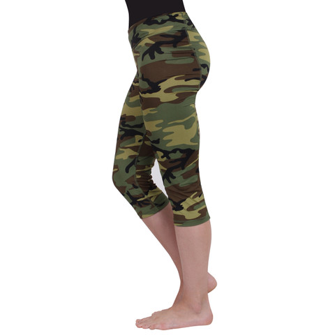 Womens Camo Workout Performance Capris - Side View