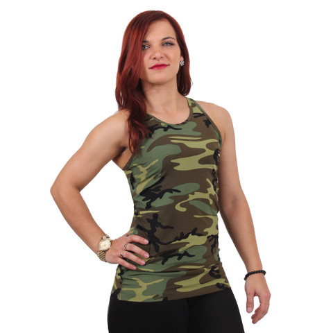 Womens Camo Workout Performance Tank Top - Model View