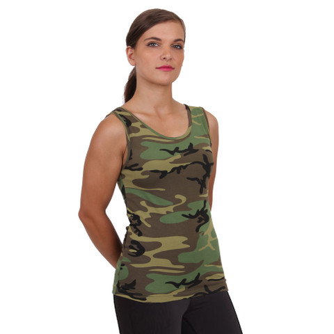 Womens Camo Stretch Tank Top - Model View
