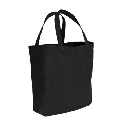 Black Canvas Shopping Tote Bag - Side View
