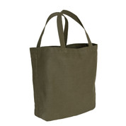 Olive Drab Canvas Shopping Tote Bag - Side View