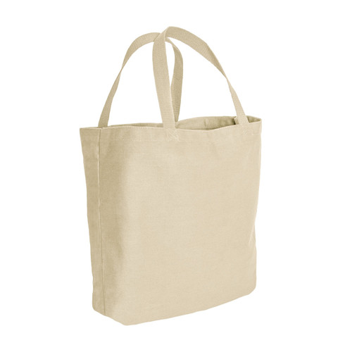 Natural Canvas Shopping Tote Bag - Side View