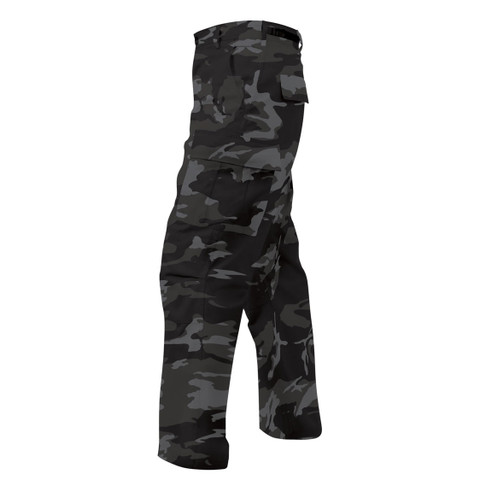 Black Camo BDU Fatigues Pants - Side View