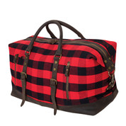 Buffalo Plaid Extended Weekender Bag - Handle View
