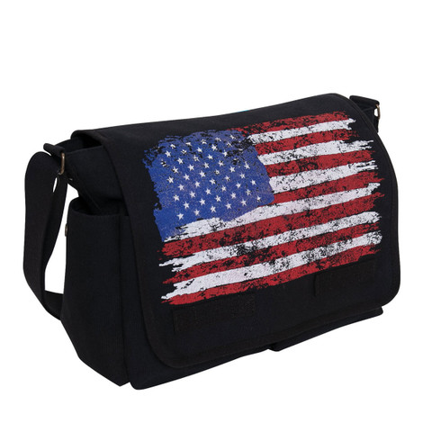 Distress U.S. Flag Canvas Messenger Bag - View