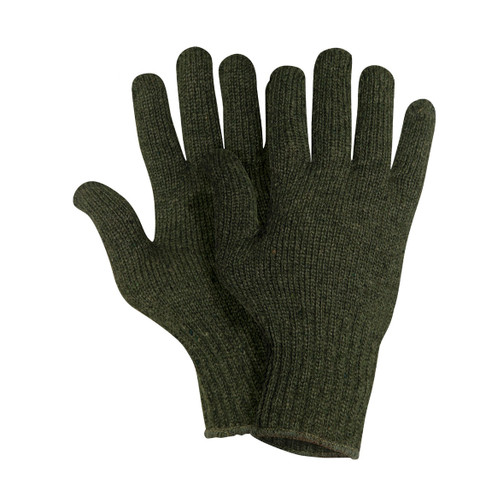 Outdoor Olive Green Wool Gloves - View