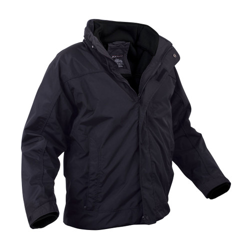 Midnight Navy All Weather 3 In 1 Jacket w/ Fleece Liner - Side View