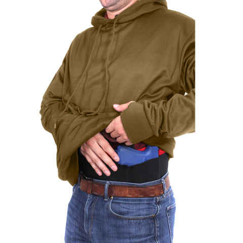 Coyote Brown Concealed Carry Hoodie Pullover - Concealed View