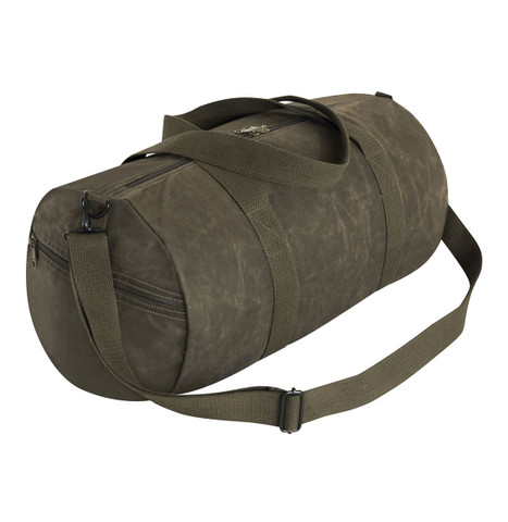 Olive Waxed Canvas Shoulder Duffle Bag - Strap View