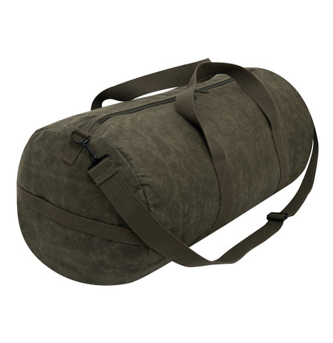 """Olive Waxed Canvas 24"""" Shoulder Duffle Bag - View"""