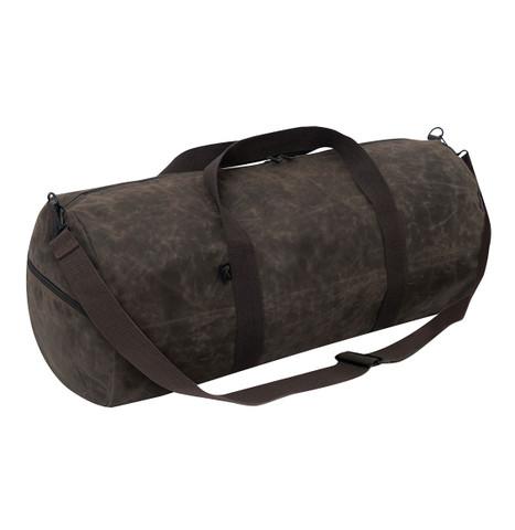 "Brown Waxed Canvas 24"" Shoulder Duffle Bag - Strap View"