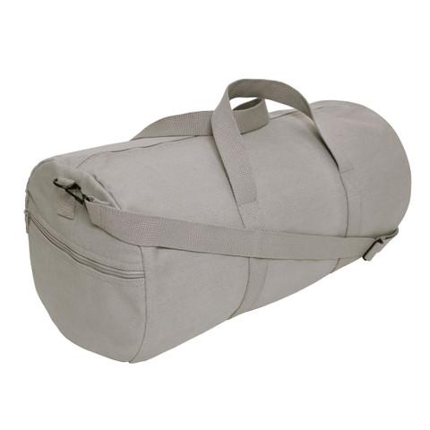 Grey Canvas Travel Shoulder Bag - Strap View