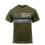 Olive Drab Thin Blue Line T Shirt - View
