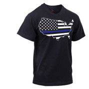Thin Blue Line Americas Map T Shirt - View