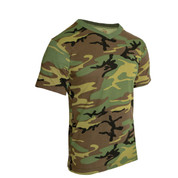 Woodland Camo V Neck T Shirt - Side View