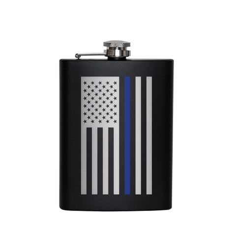 Stainless Steel Thin Blue Line Flag Flask - Front View