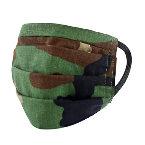 Camo Surgical Style Face Mask - Woodland Camo View