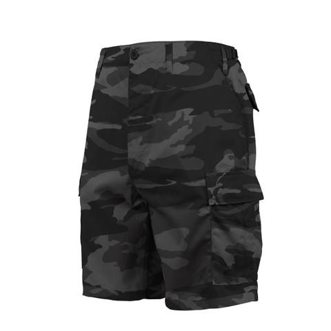 Black Camo BDU Fatigue Shorts - View