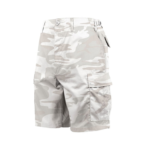 White Camo BDU Fatigue Shorts - Front View