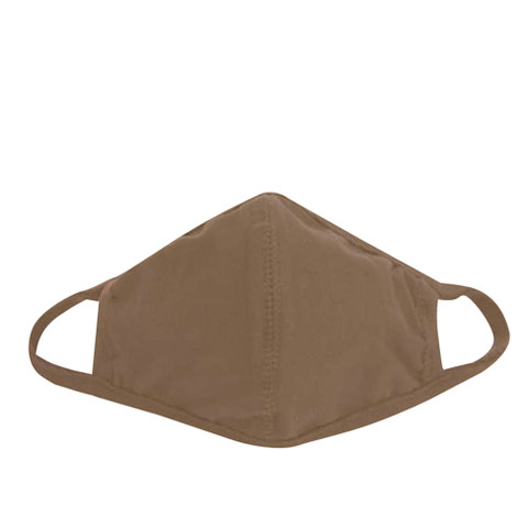 Reusable 3 - Layer Coyote Brown Face Mask - Front View