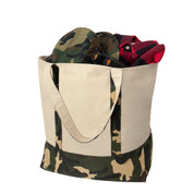 Large Natural Camo Canvas Tote Bag - View Loaded