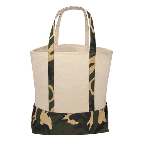 Large Natural Camo Canvas Tote Bag - View