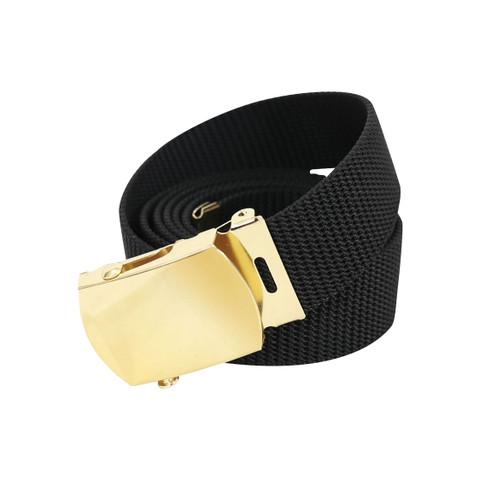 Black Nylon Web Belt W/Brass Buckle