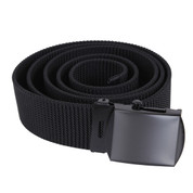 Black Nylon Web Belt W/Black Buckle - View
