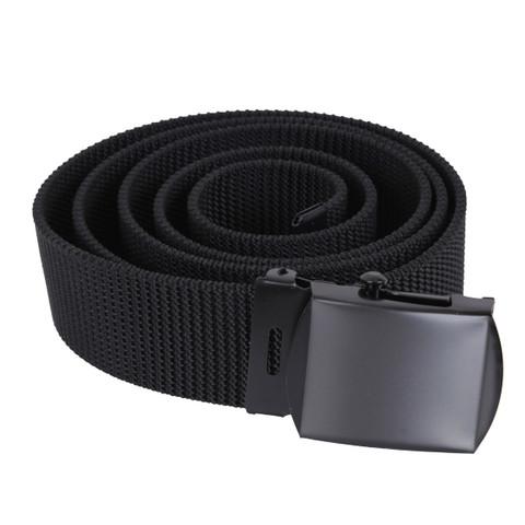 Black Nylon Web Belt W/Black Buckle - View