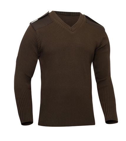 Uniform Brown V Neck Commando Sweaters - View