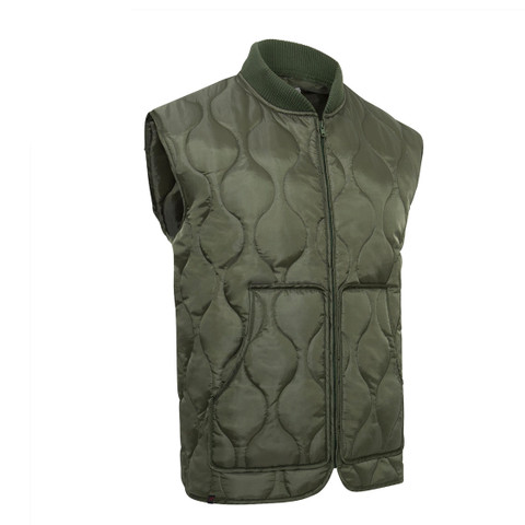 Moss Green Quilted Woobie Vest - View