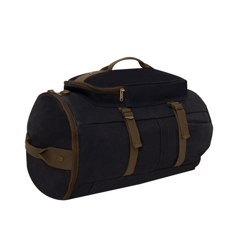 Touring Black Canvas Duffle Gear Backpack - Handle View