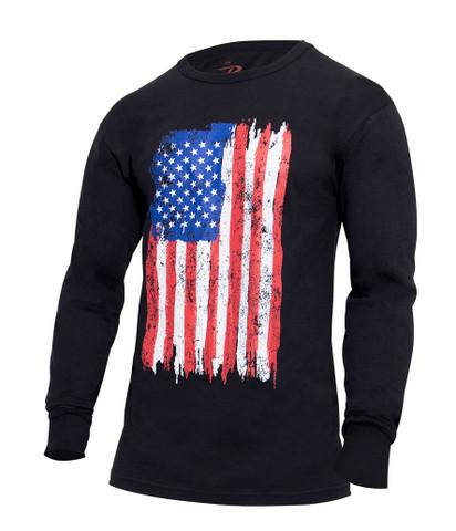 US Flag Long Sleeve T Shirt - Angle View
