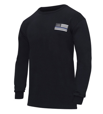 Thin Blue Line Honor Respect Long Sleeve t Shirt - Front View