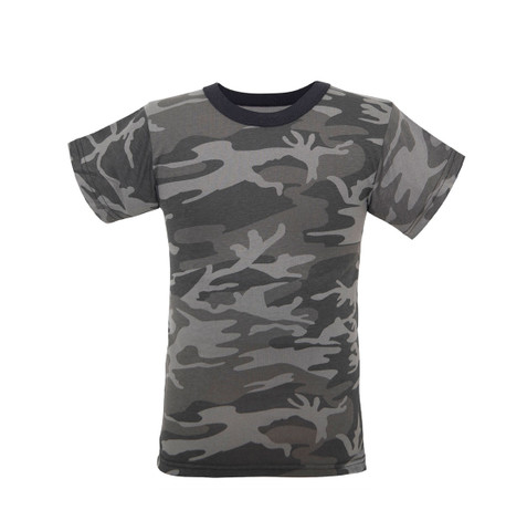 Kids Black Camo T Shirt - View